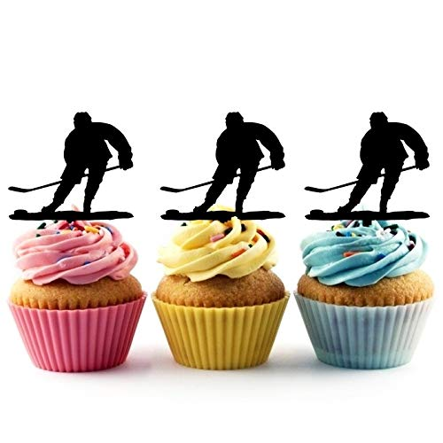Hockey Silhouette - TA0793 Ice Hockey Player Silhouette Party Wedding Birthday Acrylic Cupcake Toppers Decor 10 pcs