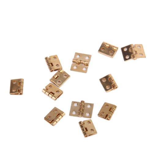 12pcs Cabinet Closet Mini Hinge for 1/12 Dollhouse Miniature Furniture - Golden