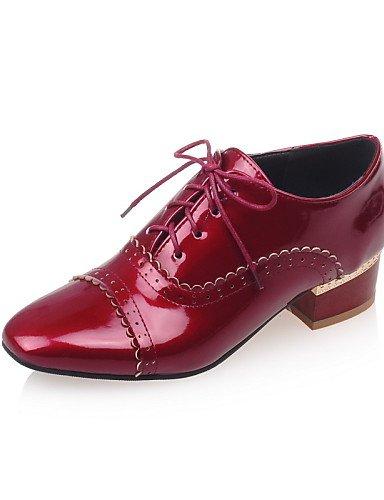 ZQ 2016 Zapatos de mujer - Tacón Bajo - Punta Cuadrada - Oxfords - Vestido - Semicuero - Negro / Rojo / Blanco / Almendra , white-us9.5-10 / eu41 / uk7.5-8 / cn42 , white-us9.5-10 / eu41 / uk7.5-8 / c white-us10.5 / eu42 / uk8.5 / cn43