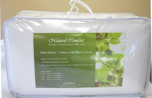 Natural Comfort Ultra Deluxe 100-Percent Natural Mulberry Silk Filled Dobby...