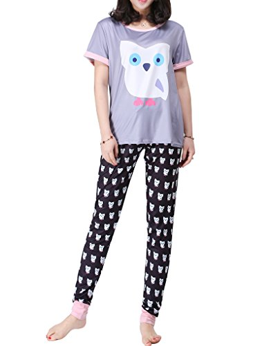 MyFav Women's Cute Owl Pajama Digital Print Sleepwear Cool Spring 2pc Loungewear, Size XL (16-18)