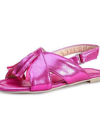 LFNLYX Zapatos de mujer-Tacón Plano-Punta Abierta-Sandalias-Casual-Semicuero-Azul / Rojo / Plata / Oro Red