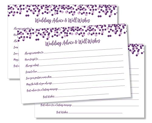 50 Wedding Advice and Well Wishes - Purple Confetti (50-Cards)
