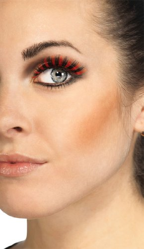 [Rubies Black and Orange Eyelashes and Adhesive] (Family Themed Fancy Dress Costumes)