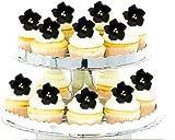 16pk Elegant Black Rose Black Fruit Blossoms Wedding / Special Occasion Cake / Cupcake Decoration Gum Paste