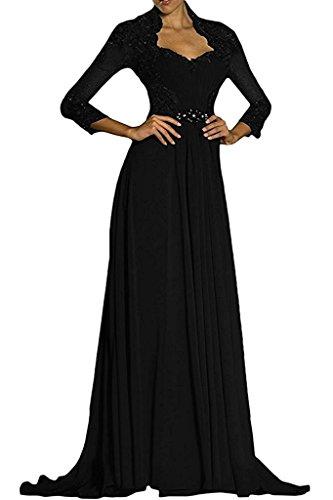 Damen Lila Spitze Brautmutterkleider Partykleider Langarm Abendkleider Braut mia Dunkel Festlichkleider Lang Promkleider Schwarz La wSIcqgATW