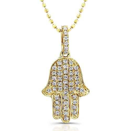 Gold Diamond Hamsa Pendant - 6