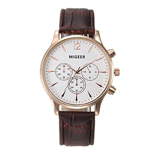 Quartz Wristwatch,Han Shi Mens Luxury Fashion Crocodile Faux Leather Analog Watch Clock (A, Brown)