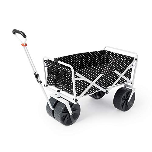 Mac Sports Heavy Duty All Terrain Folding Multi Utility Beach Wagon, Black Dots