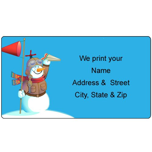 Airplane Theme Personalized Christmas Address Labels - Customized Return Address Label - 90 Labels - Tight Fit For Santa