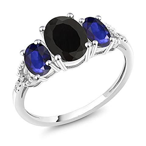 10K White Gold Diamond Accent Three-Stone Engagement Ring set with 2.20 Ct Oval Black Onyx Blue - Set Oval Onyx Ring