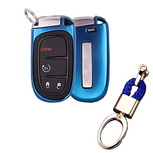 Royalfox(TM) 2 3 4 5 Buttons TPU Smart Remote Key Fob case Cover for Chrysler 300 200 Dodge Charger Challenger Dart Durango Journey,Jeep Grand Cherokee Renegade Fiat Freemont (Blue)
