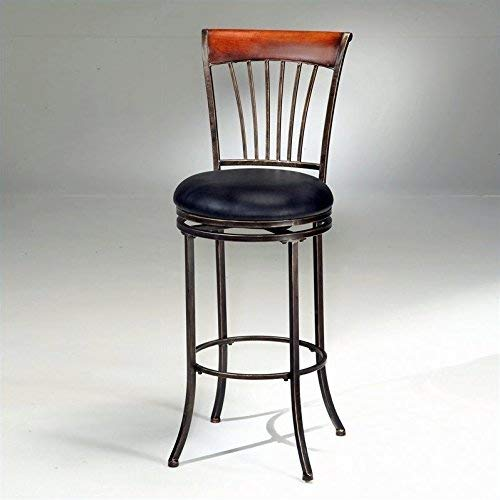 Hillsdale Riley Wood Top/Metal Spoke Swivel Bar Stool ()