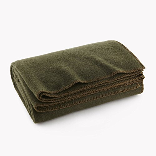"Olive Drab Green Warm Wool Fire Retardent Blanket, 66"" x 90"" (80% Wool)-US Military"