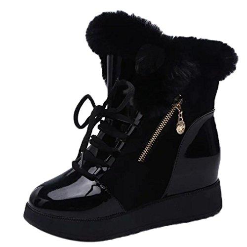 punta nieve XINANTIME con planos de redonda Negro mujer invierno Botas blanda 36 de Negro de Botines Zapatos EU 7FA7wU
