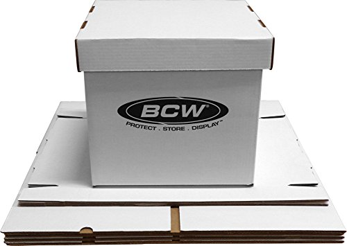 """BCW-BX-33RPM-BOX - 12"""" Record Album Storage Box with Removable Lid - Holds Up to 65 Vinyl Records - White - (5 Boxes) from BCW"""