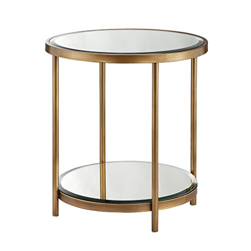 Madison Park Cole Accent Tables - Metal, Mirror Side Table - Gold, Mid-Century Modern Style End Tables - 1 Piece Beveled Mirror Top/Shelf Small Tables For Living Room (Cole Wood Mirror)