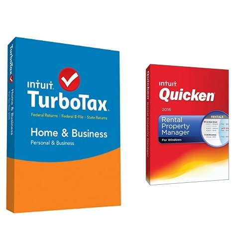 TurboTax Home & Business 2015 Federal + State Taxes + Fed Efile Tax Preparation Software PC/Mac Disc with Quicken Rental Property Manager 2016 PC Disc