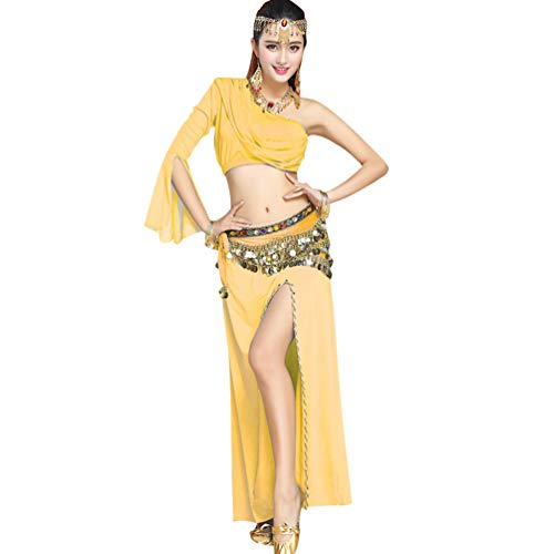 Jaune Unie 8 Femme Ventre Une Danse de Jupe du Haute Couleur Costume paule Fente Tops Irrgulier Longue TianBin qwaUT00