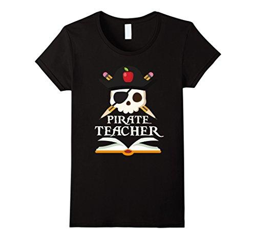 Womens Pirate Teacher For Halloween Costume T-Shirt XL Black -