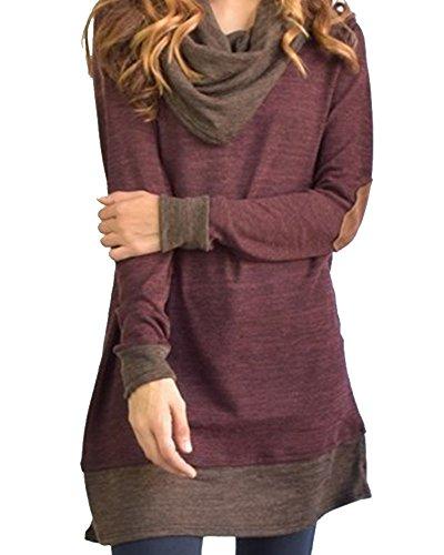 Omerker Womens Scarf Neck Patchwork Long Sleeve Tunic Midi Sweatshirt (Medium, Claret red) (Hood Dress)