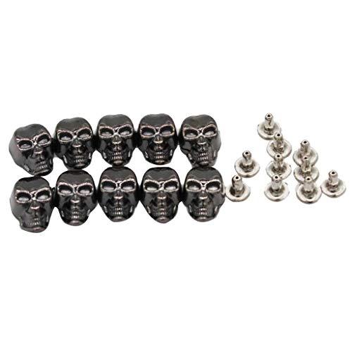- 10 Sets Skull Rivet Studs Spikes Punk Rock for DIY Leather Craft Project 9x16mm (Color - Grey Black)