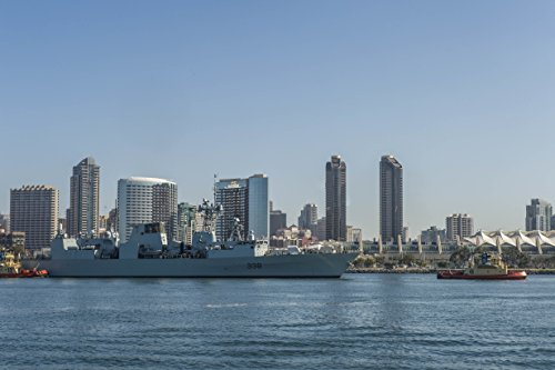 North Frigate Bay - Home Comforts LAMINATED POSTER Royal Canadian Navy frigate HMCS Winnipeg (FFH 338) transits San Diego Bay from B-Street Pier to con