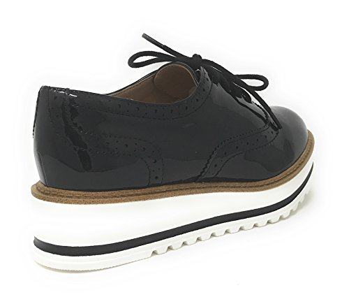 Soda White Bottom Damen Oxford Schuhe Schwarz Pat