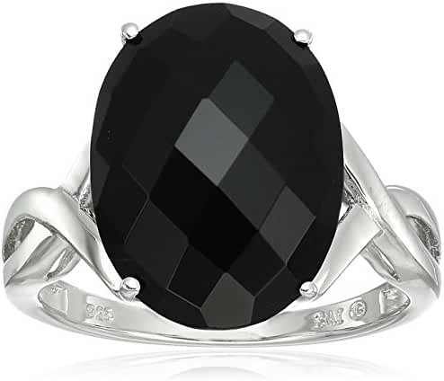 Sterling Silver Onyx Oval Ring, Size 7