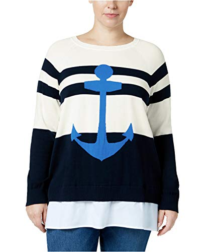 (Tommy Hilfiger Womens Plus Woven Striped Crewneck Sweater Ivory)