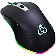 DWIRAY M1 4000DPI Ergonomic Wired Gaming Mouse, RGB LED Light, 6 Buttons , Black, for Notebook, PC, Laptop, Computer, Macbook
