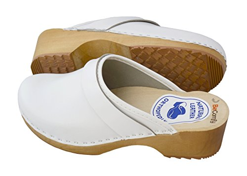 Glatt Model VK42 White Women's with Leather BeComfy Clogs Genuine Sole Weiß Wooden P8AqxpWw