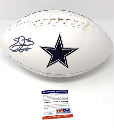 Emmitt Smith Dallas Cowboys Signed Autograph Embroidered Logo Football Smith PSA/DNA Certified