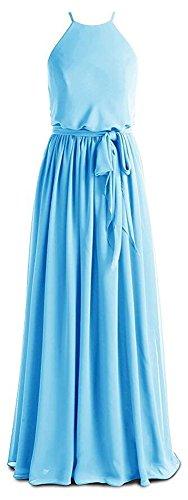 Shoulder Chiffon Women's Long Bridesmaid Dress Dresses Boho Blue Off Flowy Beauty AK qntp4xHTAp