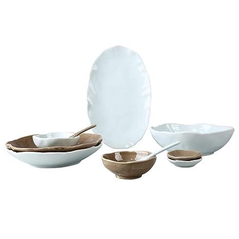 Juego de platos y cubiertos en casa conjunto simple juego de mesa y cubiertos en porcelana