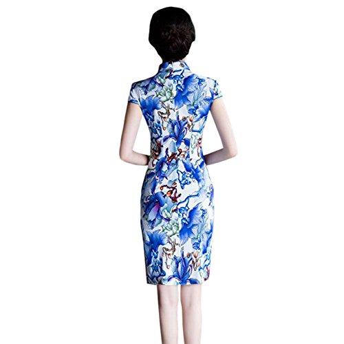noche Qipao Floral Impreso 02 Retro Hzjundasi Mangas de Vestido Mujer Cheongsam cortas Tradicional Lino Chicas 6FRRxzcWY