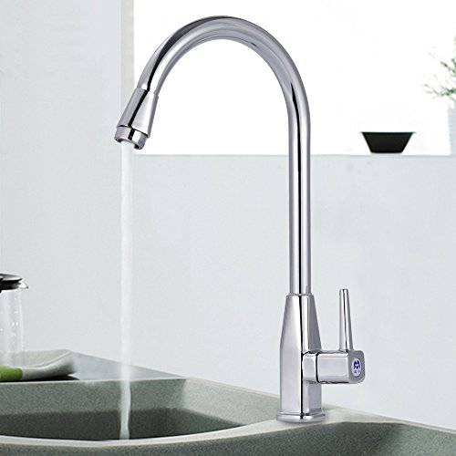 Furesnts Modern home kitchen and Bathroom Sink Taps The octagonal tower alloy single cold Dan Bathroom Sink Taps,(Standard G 1/2 universal hose (Octagonal Tower)