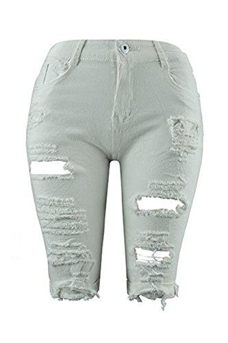 Zojuyozio Alta Denim Forti Di Taglie Donna White Jeans Con Strappati A Pantaloncini Casual Da In Vita rw8FqHrxX