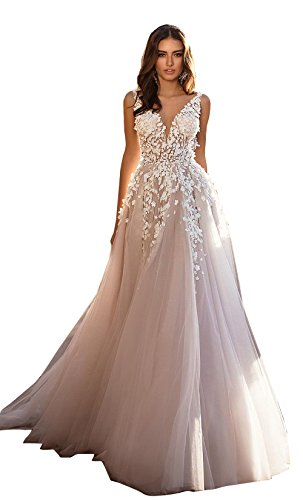 Kelaixiang Women's Double V-Neck Tulle Appliques Long Evening Cocktail Wedding Gowns