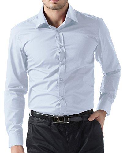PAUL JONES Men's Business Casual Long Sleeves Dress Shirts Light Blue
