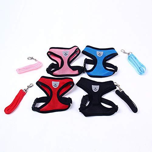 1pc arn/és rojo del perro y una correa de malla Conjunto de mascotas accesorios del perro de los perros de perrito del gato chaleco del arn/és Art/ículos para mascotas Chihuahua Yorkshire Terrier Pitbull