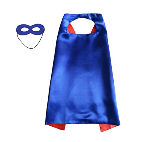 LYNDA SUTTON Capes for Kids, Children Birthday Party Favors Blue+Red Color 1 Cape+1 Mask Double Sided 27.5