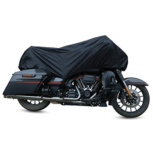 X AUTOHAUX Motorcycle Cover Lightweight Half Cover Outdoor Waterproof Rain Dust UV Protector Black XL for Most Full Dress Touring ()