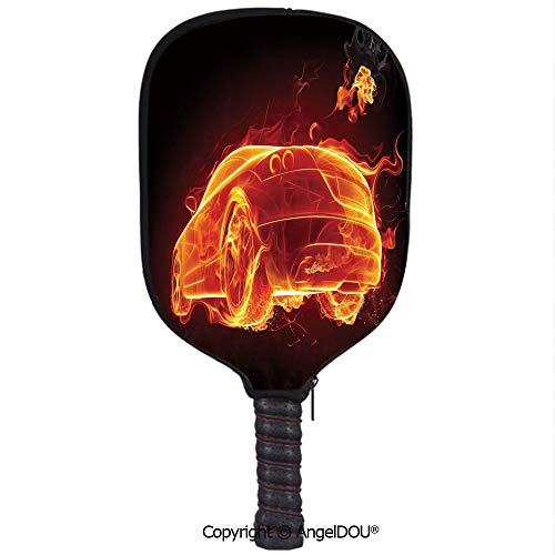 AngelDOU Cars Lightweight Neoprene Durable Pickleball Paddle Cover Automobile in Flames Burning Hot Modern Car and Fire Creative Concept Design Decorative Holder Sleeve Case Protector.Orange Red Blac