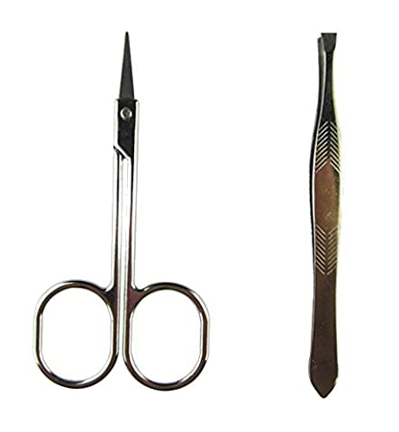 SUKRAGRAHA Stainless Steel Makeup Slim Curved Edge Eyebrow Hair Brow Trimming Scissors Cutter + Flat Edge Clip - Edge Trimming Cutter