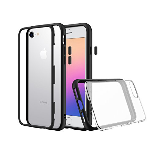 iPhone 8, iPhone 7 Premium Modular Slim Case [RhinoShield Mod] Shock Absorbent Heavy Duty Protective Cover - Compatible w/ Wireless Charging & Lenses - Shockproof Black Bumper w/ Clear Back