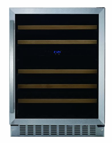 Liquor Display Stainless Steel - Fagor WC-46DZ Built-in Wine Cooler with LED Display, 5 Slide-Out Shelves and Door Alarm, 24-Inch