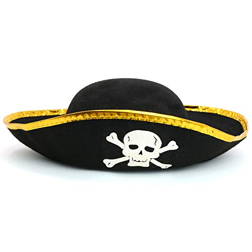 Skeleteen Tri Corner Pirate Hat - Three Cornered Buccaneer Costume Accessory Hat - 1 Piece ()