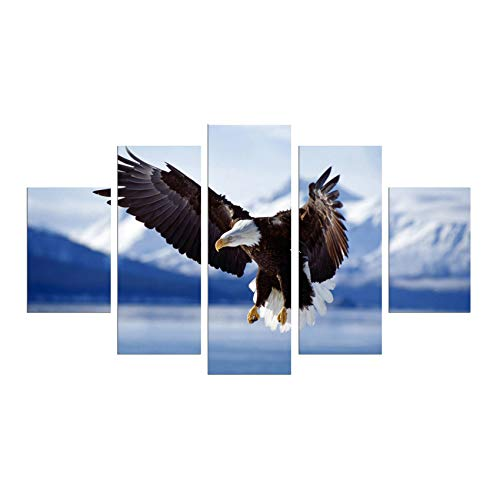 5 Panel Modern Flying Bird Wall Art Decoration Printed Animal Oil Painting Bald Eagle Canvas Prints Bedroom Pictures No - Bald Portrait Eagle