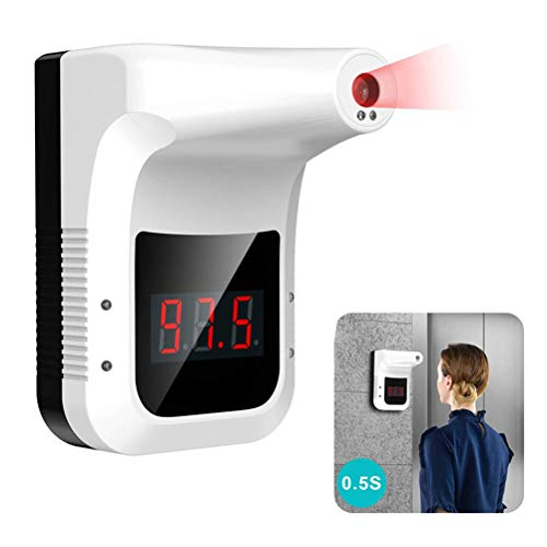 Restaurants MQQ Non-Contact Digital Thermometer Rail Station Entrances Shops Wall-Mounted Infrared Forehead Thermometer with LCD Display Fever Alarm for Factories School Office